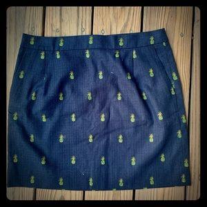Dark Blue Tweed Mini Skirt Very Warm J Crew 8